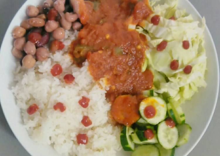 Recipe of Speedy White rice with cocktail beans and ramen stew