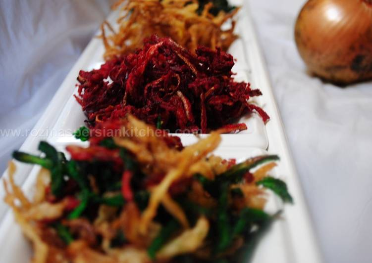 Steps to Make Any-night-of-the-week Crispy-colourful fried onions (Persian piaz dagh)