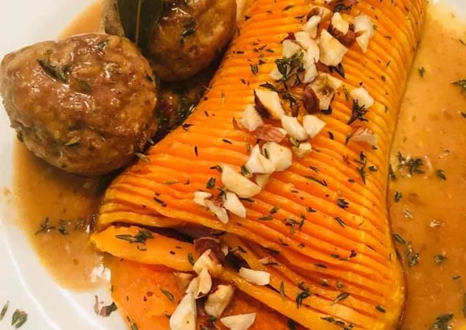 Boulettes d'Agneau et Dinde au riz Butternut rôti au sirop d'Érable