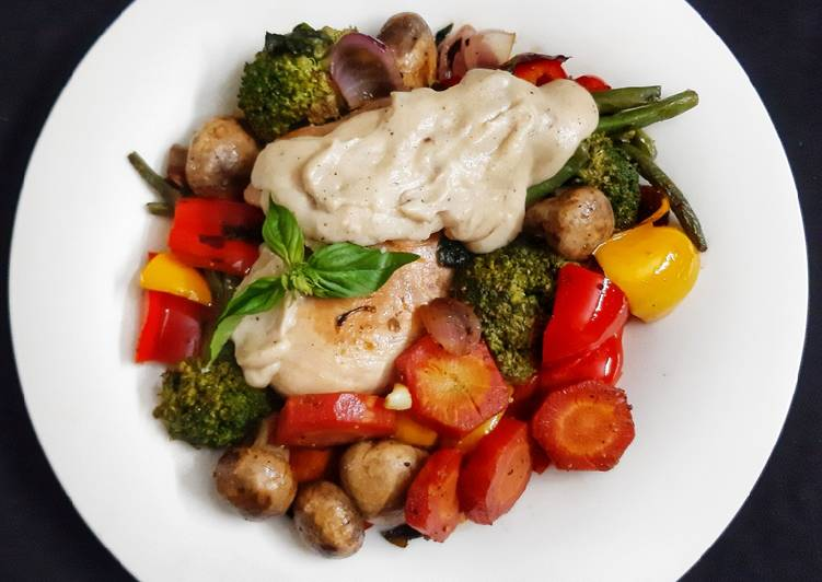 Top 10 Dinner Ideas Super Quick Homemade Olive oil & Butter Poached Chicken with veggies in white sauce