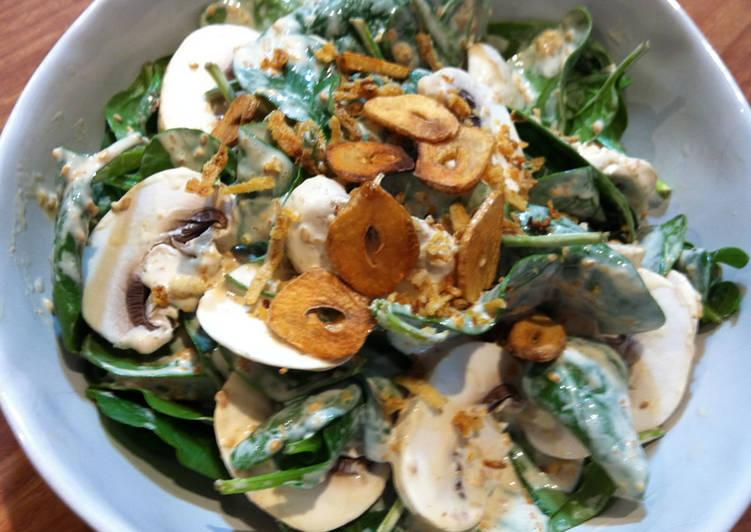 Recipe: Tasty Spinach & Mushrooms Salad