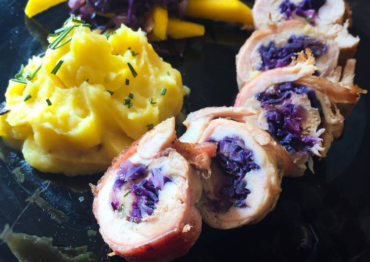Recipe of Super Quick Homemade Stuffed Chicken thighs-with red cabbage