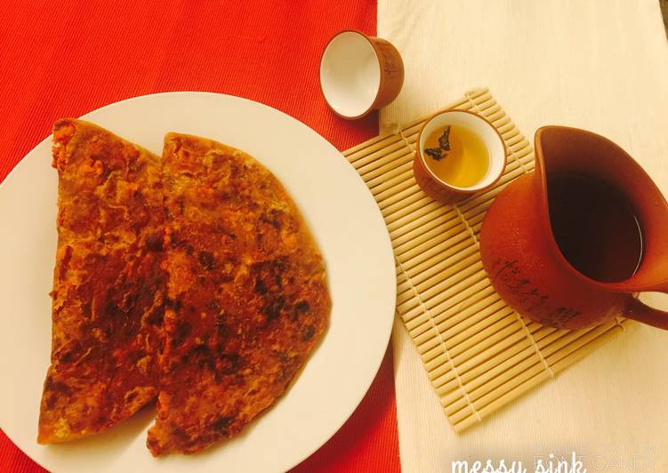 10 Minute Recipe of Cooking Schezwan Paratha
