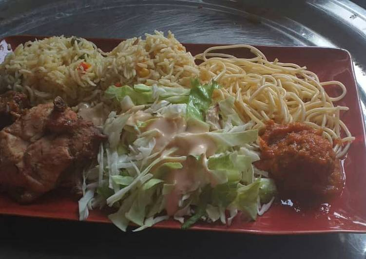 Coconut fried rice,spagetti with fried chicken and cabbage salad