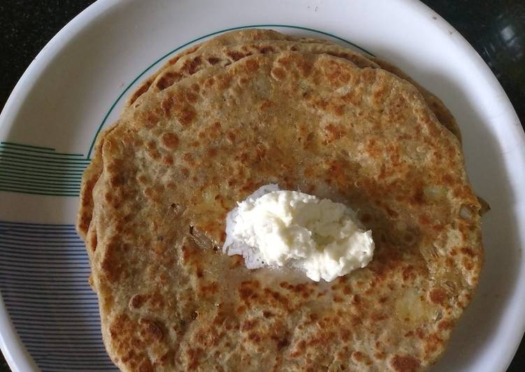 Aloo pyaz Paratha with white butter - Laurie G Edwards