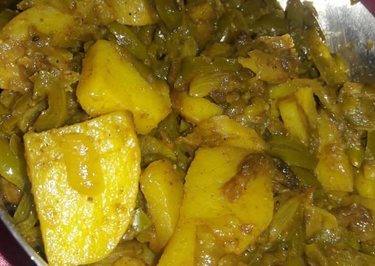Best Comfort Dinner Easy Speedy Aloo shimla mirch ki sabji without tomato