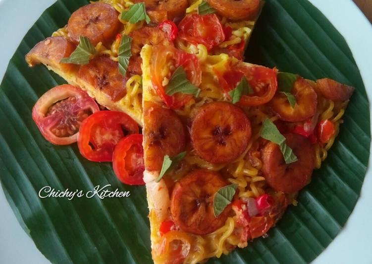 Noodles and plantain frittata
