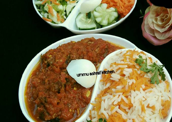 Carrot rice wit soup and salad
