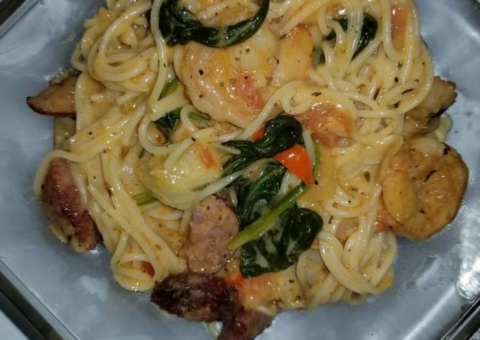 Recipe: Delicious Shrimp and sausage w/Angel hair pasta in a Cajun cream sauce
