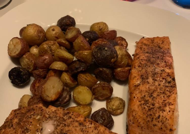 Recipe: Perfect Air-Fried Honey Soy Salmon with Garlic Parmesan Potatoes
