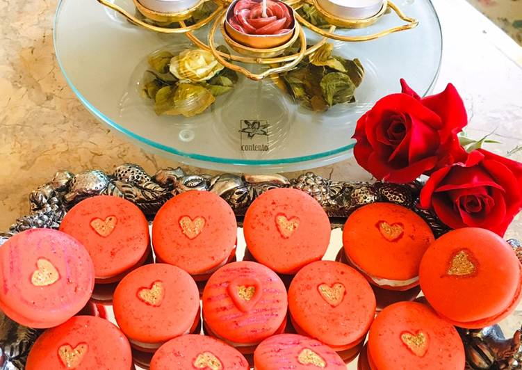 Step-by-Step Guide to Prepare Ultimate Red macaroons with golden heart#themechallenge