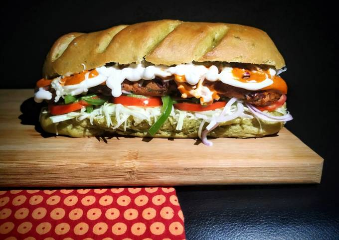 Healthy Sub Sandwich (Multigrain spinach loaf and Rajma Tikki)