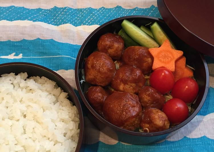Recipe: Tasty Meat balls Bento box