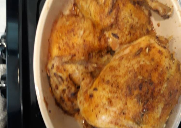 Dutch Oven Roasted Chicken with wild rice