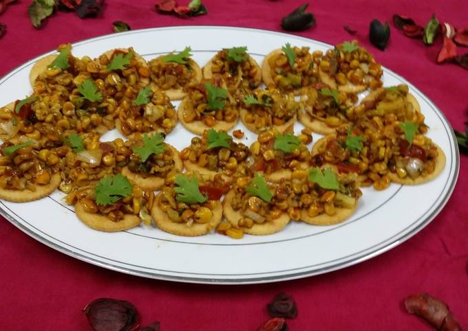 Easiest Way to Prepare Tasty Corn Chaat Biscuit Canapes
