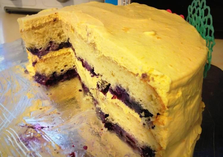 Blueberry and mango mousse cake