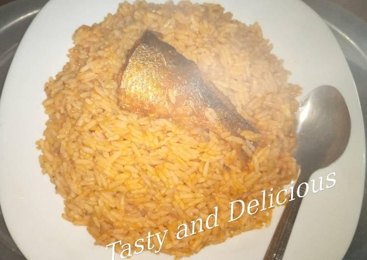 Tasty Jollof Rice with leftover stew
