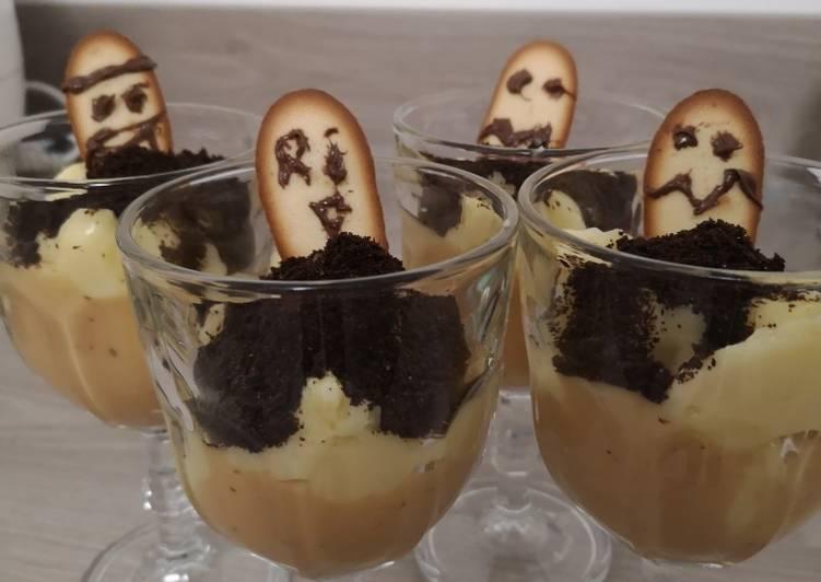 Cimetière à la crème pâtissière et noisette et terre d'oreo