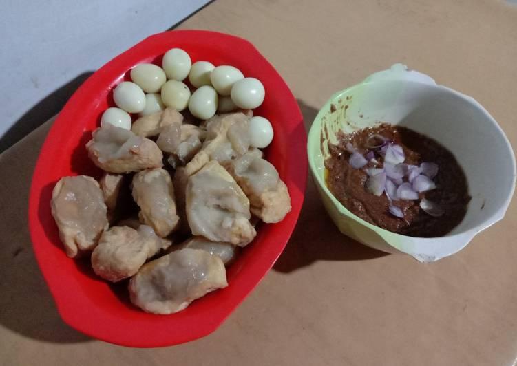 Tahu baso aci (tanpa ayam) + sambal kacang