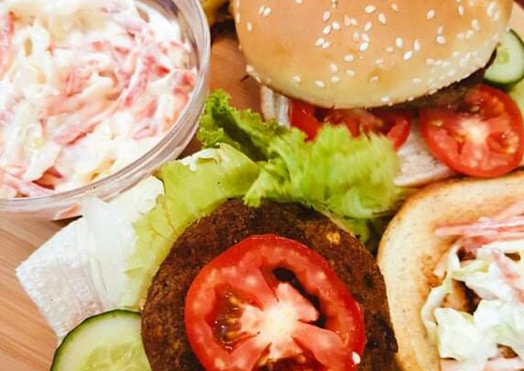 10 Minute Recipe of Quick Shami Burger with Coleslaw,French Fries & Quice Lemonade