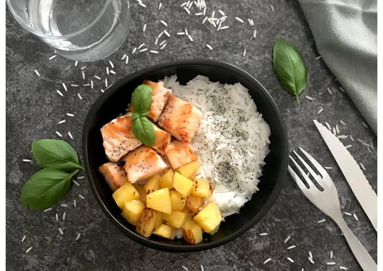 Association sucrée-salée : Dés de saumon grillé, ananas rôti et riz basmati !