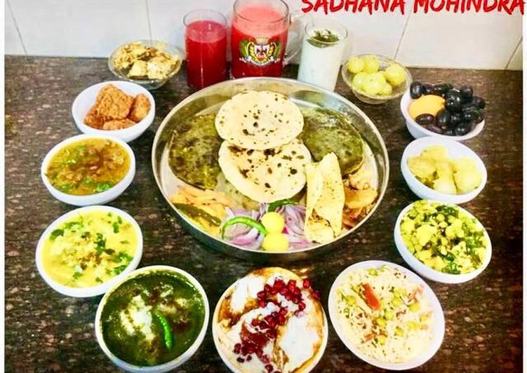 The Best Dinner Ideas Summer Punjabi Thali..Kadhi Pakoda,sarson ka saag,dahi Bhalla,carrots juice,lassi,gur