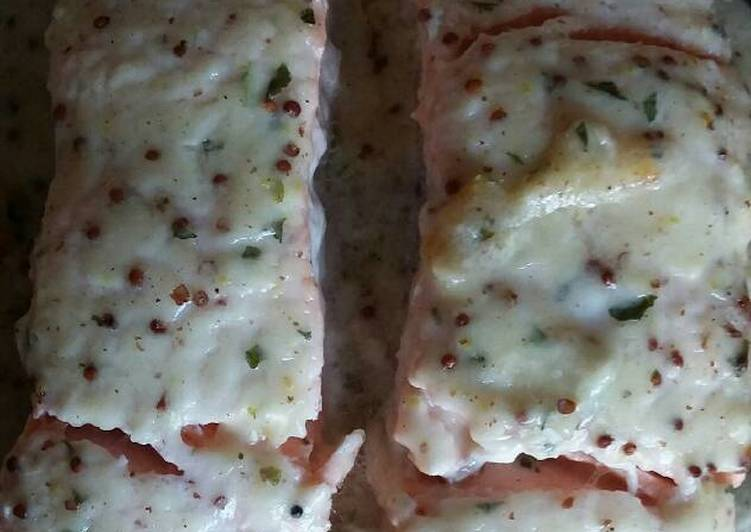 How To Something Your Salmon with wholegrain mustard bechamel