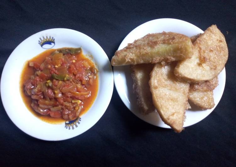 Fried Yam with Tomato sauce
