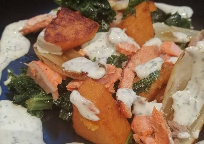 Salmon, squash and kale with lemon and dill yoghurt sauce