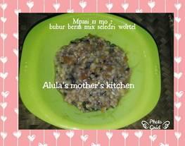 Mpasi Bubur beras mix (beras merah, putih, hitam) seledri wortel