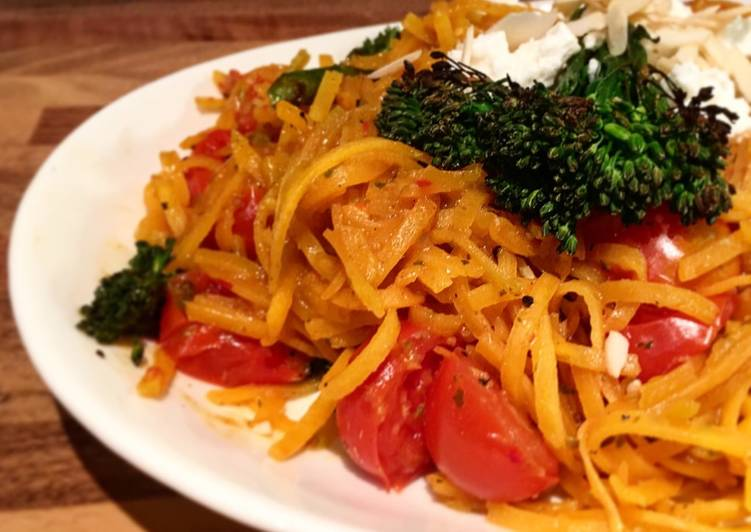 Easiest Way to Prepare Most Popular Butternut squash zoodles stir fry in spicy thai sauce, cherry tomatoes, broccolini, feta