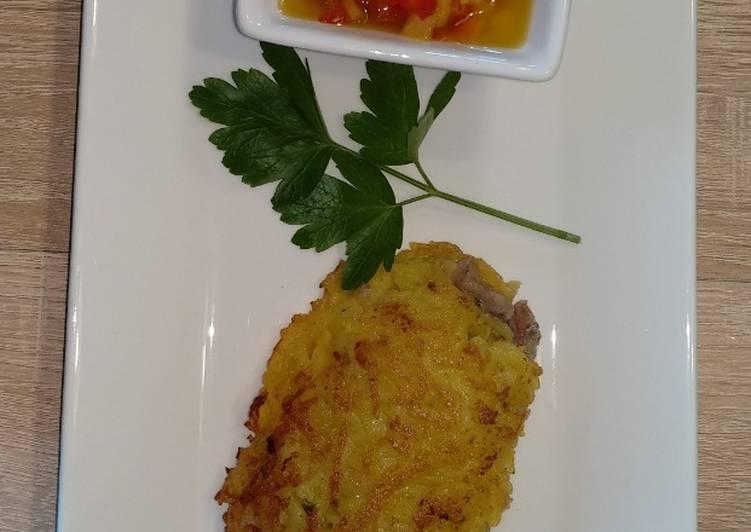 Recipe: Delicious Heringsfilet in einer Kartoffelkruste, dazu eine einfache Paprika Salsa