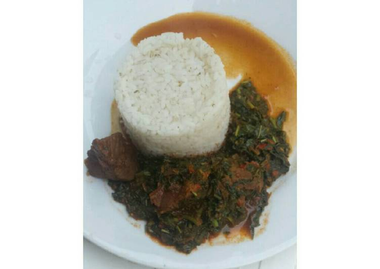 White rice with spinach stew