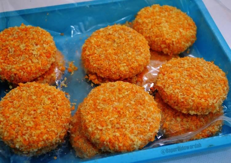 patty ayam wortel untuk isian burger foto resep utama Resep Indonesia CaraBiasa.com