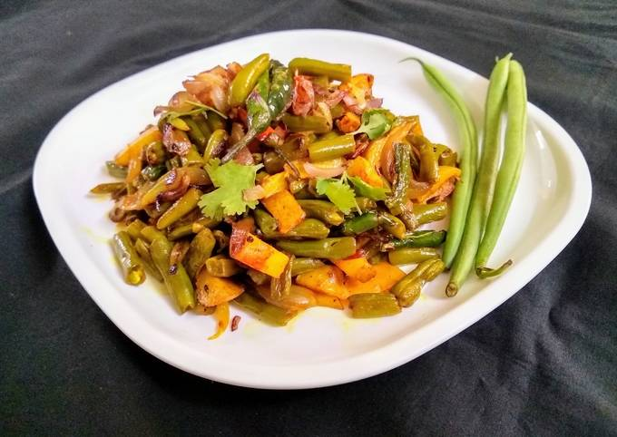 French Beans and Potato Fry with Onions