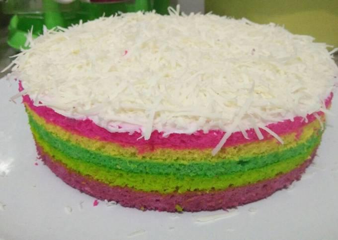 Rainbow cake kukus ekonomis takaran sendok