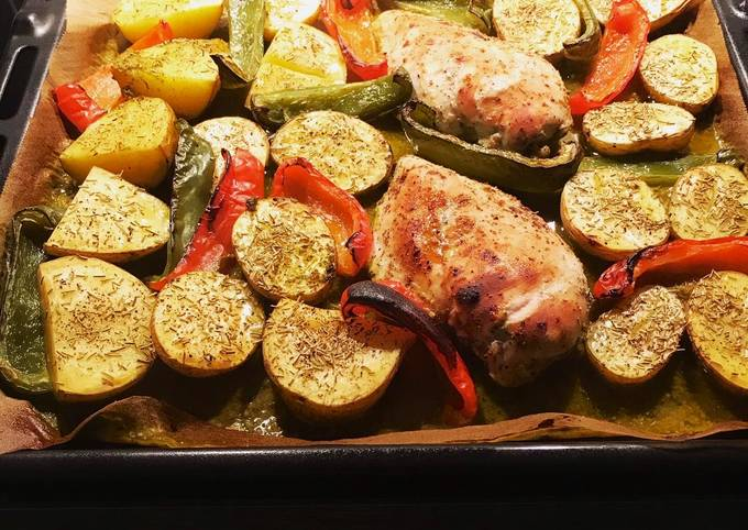 Gebackene Hähnchenbrust mit Rosmarinkartoffeln