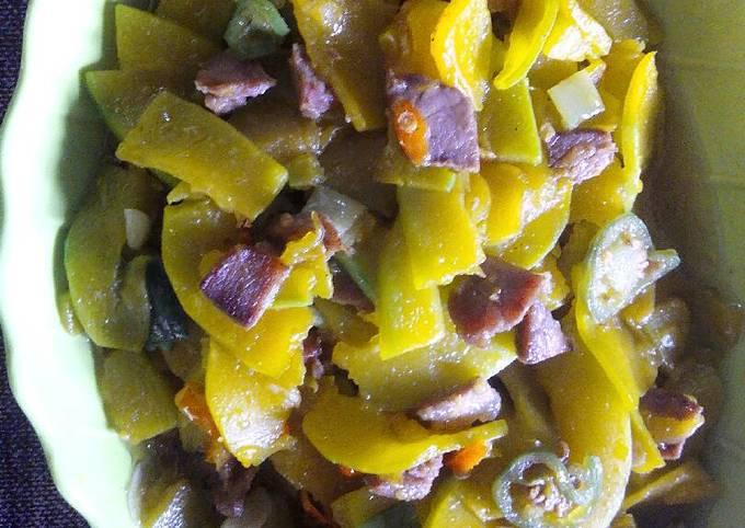 Tumis labu kuning cincang daging cabe bendot