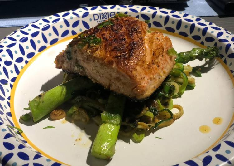 Recipe: Perfect Spicy Skinned Salmon, Sautéed Asparagus and Zucchini Noodles