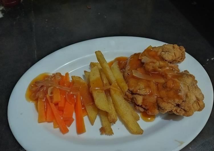 Steak ayam crispy simple