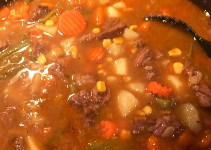 Braised roast into a stew