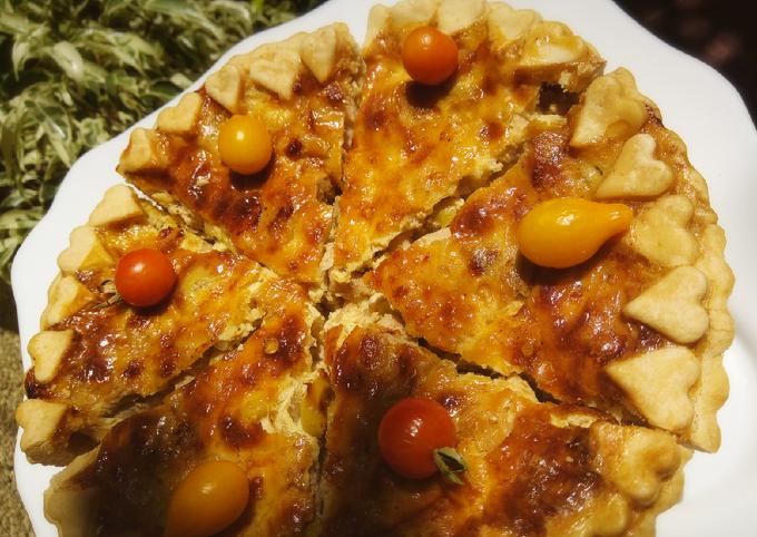 Tourte poulet champignons olives et fromages 🍴