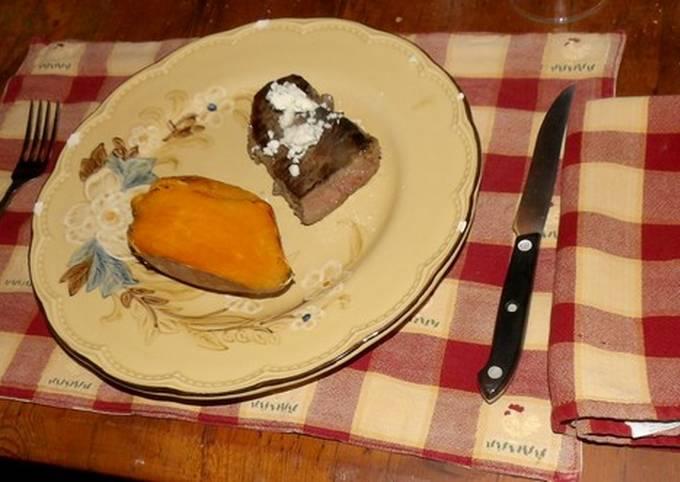 Sous Vide Strip steak with baked Sweet Potato