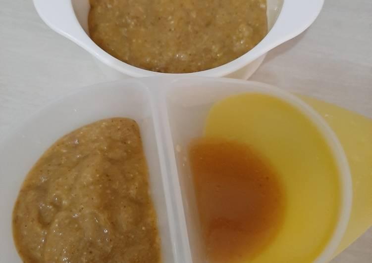 Mpasi 4**** baby febrian : nasi bubur ati yampung & daging sapi