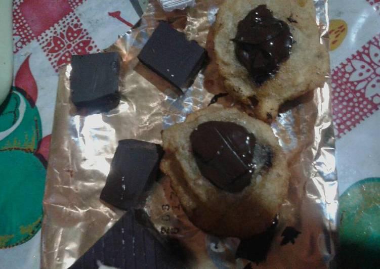 Tepung goreng coklat lumer. So simpel