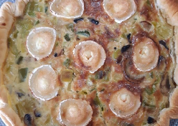 Tarte aux poireaux champignons fromage de chèvre
