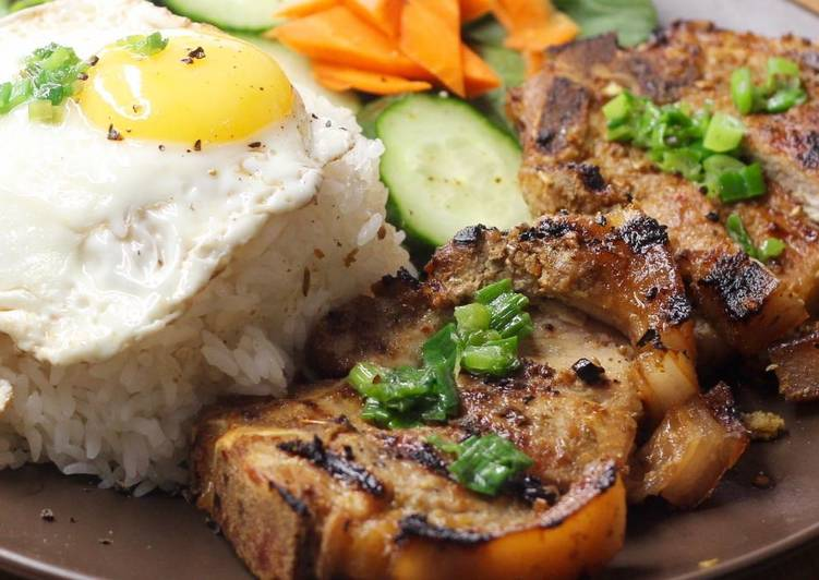 How to Make Homemade Simple grilled pork chop rice plate with eggs recipe
