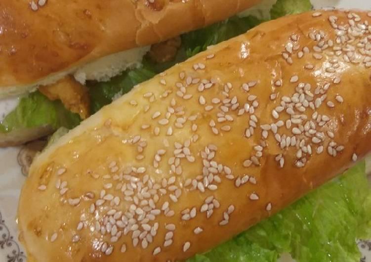 Chicken tikka subway burger with homemade sub burger