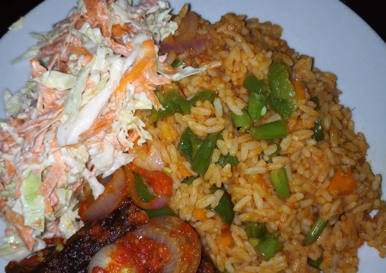 Recipe of Super Quick Homemade Jollof Rice/peppered Goat meat /Cole slaw
