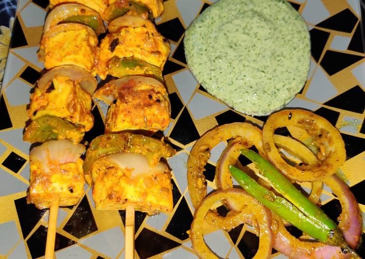 Achari paneer tikka with achari onion rings